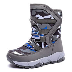 BODATU Boys Girls Snow Boots Outdoor Waterproof Winter Kids Shoes Toddler 8, Grey
