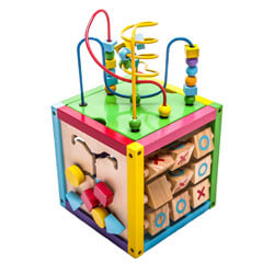 MMP Living 6-in-1 Play Cube Activity Center - Wood, Xylophone with Mallet
