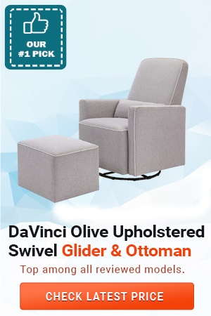 DaVinci Olive Upholstered Swivel Glider with Ottoman