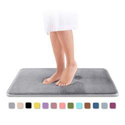 Genteele Memory Foam Bath Mat, Non Slip Absorbent Super Cozy Velvet Bathroom Rug Carpet