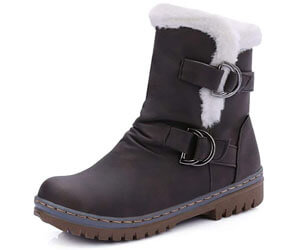Womens Ankle Boots Flats Fur Warm Winter Snow Booties, best shoes for pregnancy