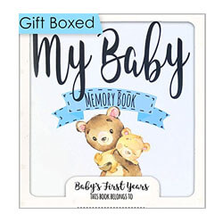 Baby Memory Book for Boys, Baby Journal, 3 Color Options
